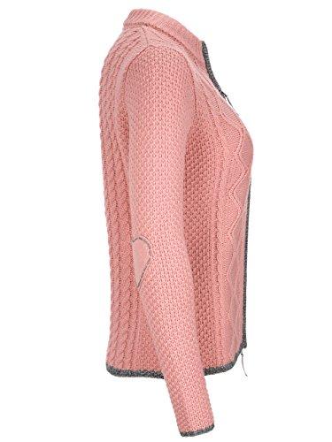 Almbock Strickjacke Reißverschluss Damen | Hochwertige Trachten Strickjacke | Trachtenjacke Damen aus Feiner Wolle in Vielen Farben von Gr. S - XXL (Altrosa, XXL) - 3