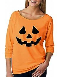 Blusas, Bluestercool Mujeres Halloween Calabaza Sonreír Impresión Tops Blusa Camisa