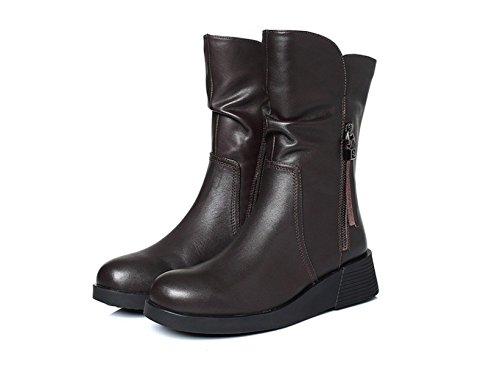 stiefel Elegant Elegant Comfort Flat Heel Schwarz,Black-37.5EUR (Breite Oberschenkel Hohe Stiefel)