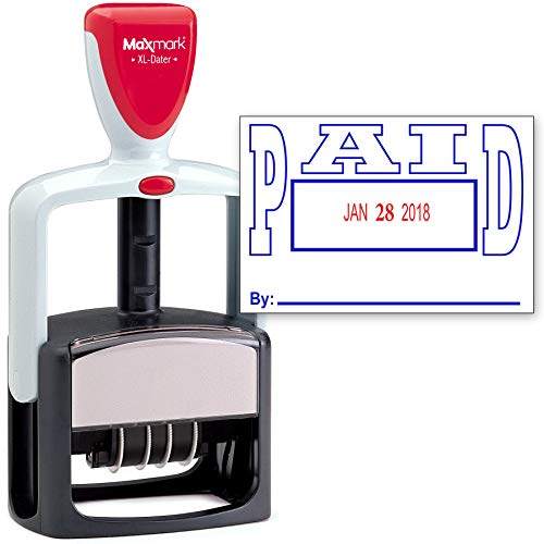 Rubber Stamp Creation 2000 Plus Heavy Duty Stile 2-Color Timbro data con Paid auto Inking Stamp - Blu/Red Ink PAGATO