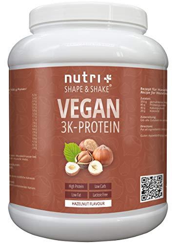 Proteinpulver Vegan Haselnuss 1kg   83,5{5cffec5351146b4c6659f4afd21c0704082b7da2e4f50bdfcf0e50b396ca32f5} Eiweiß   Shape & Shake 3k-Protein Nuss   Nutri-Plus Veganes Eiweißpulver ohne Laktose & Milcheiweiß   In Deutschland hergestellt