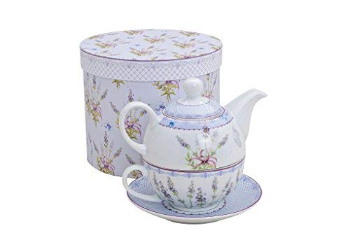 Tee-Set mit Lavendel Motiv für eine Person | Teekanne, Teetasse & Untertasse | Porzellan Teeservice in Geschenkbox | Design Henkel-Tasse, Henkel-Kanne & Unterteller für Teetrinker | Tea for one Teekanne Set