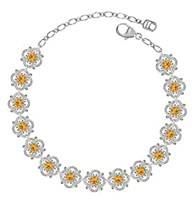 Lucia Costin Silver, Yellow Swarovski Crystal Bracelet with Delicate Flowers