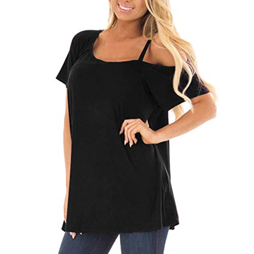 VECDY Damen T-Shirt, Casual Tops Unregelmäßige Art und Weise festes Solide Kurzarm Tunika Bluse Tops Shirt Elegant Sweatshirt Sling Oberteil