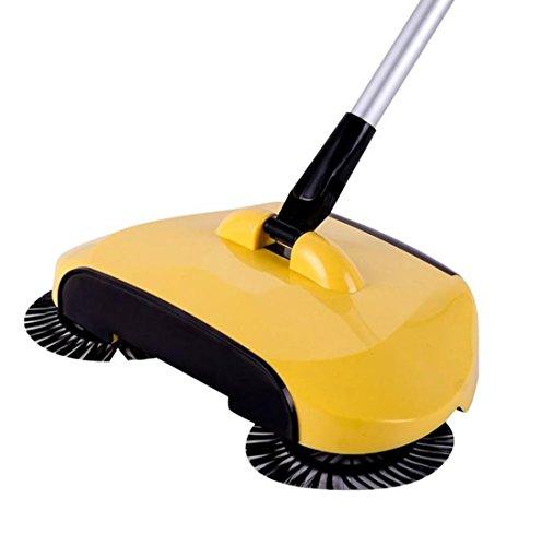 Manuell Swivel Sweeper, FNKDOR 360 Rotary Heimgebrauch Magie Handbetrieb Teleskopisch Stock Kehrmaschine (Gelb)