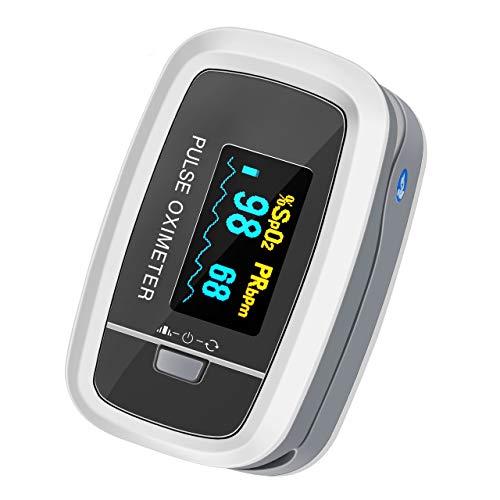 Mpow Pulsossimetro, Saturimetro da Dito Display OLED, 4 Girevoli Direzioni e 5 Luminosità Regolabili, Letture Immediate e Consecutive per Frequenza del Polso e La Saturazione di Ossigeno(SpO2)