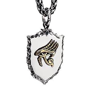 FORFOX Punk Titan Stahl Golden Auge des Horus Amulett Anhänger Halskette für Herren Damen 27 Zoll Kette