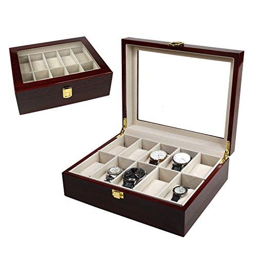 Uhrenbox Uhrenkasten Uhrenkoffer für 6 10 Uhren Holz (10 Uhren)