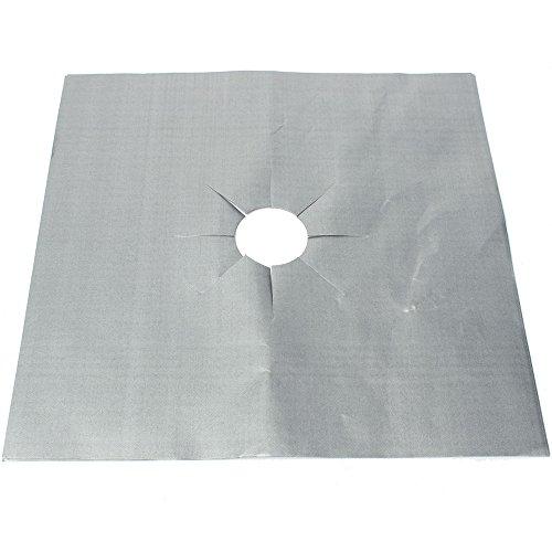 MSV Schutzfolie für Gasherd 8 Stück aus Aluminium, Silber, 26x26x1 cm, 8-Einheiten
