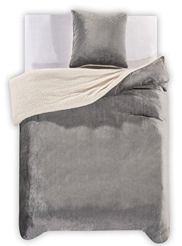 135x200 cm stahl Winter Bettwäsche mit 1 Kissenbezug 80x80 2tlg Lammfelloptik Bettwäscheset flauschig Bettbezüge Bettwäschegarnituren Microfaser mollig weich kuschelig grau anthrazit grey steel Teddy
