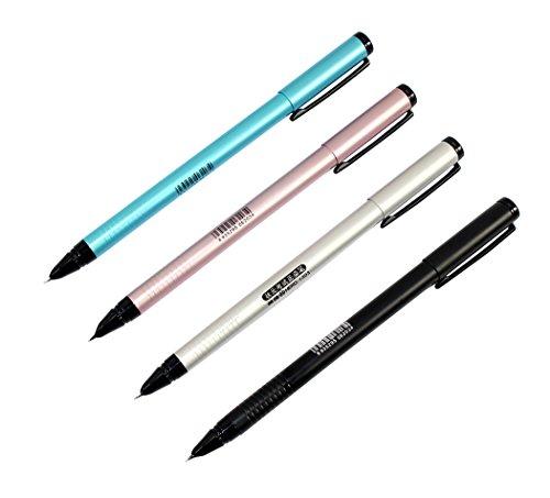 Ranvi Hero 1303 penna stilografica, pennino da 0,5 mm, 4 pezzi, 4 colori (argento, nero, blu, rosa)