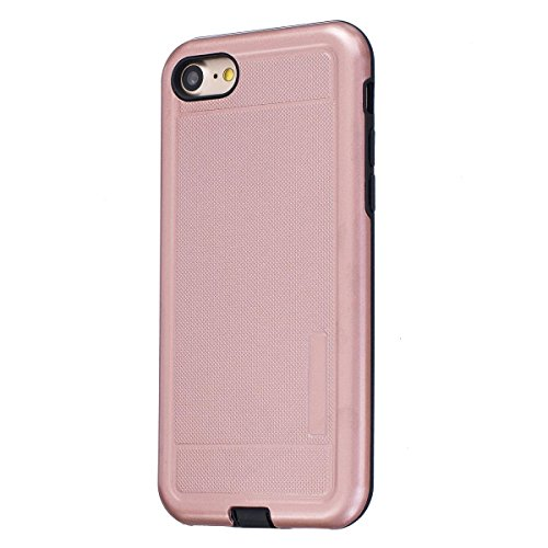 "MOONCASE iPhone 7 Hülle, Dual Layer Soft TPU + Rutschfest Hart PC Schale Anti-Shock Defender Schutz Tasche Schutzhülle Case für iPhone 7 (4.7"") Blau Rose Gold"