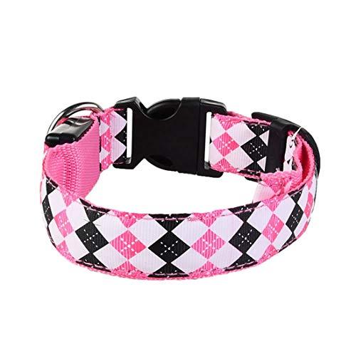 WEATLY Pet Led Hundehalsband Leuchthalsband Hundegeschirr Pet Halsbänder Für Kleine Große Hunde (Farbe : Rosa, Size : S [Charged]) (Rosa Hunde Halsbänder Hund Kleine Für)