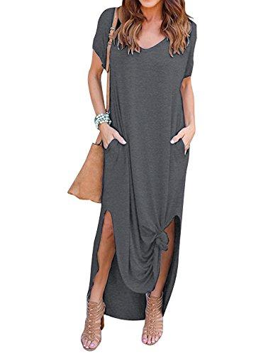 Yidarton Damen Sommerkleid Casual V-Ausschnitt Kurzarm Tasche Side Split Beach Long Maxi Kleid (XL, Grau)