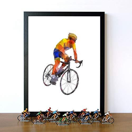 adgkitb canvas Polígono geométrico Abstracto Carretera Ciclista Colorido Bicicleta Deportes Arte de la Pared Pintura de la Lona Imagen de la Bicicleta Decoración para el hogar 40x60cm SIN Marco