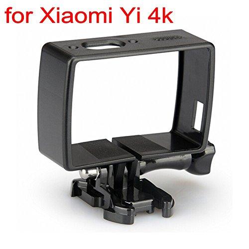JZK® Frame cornice case protettivo accessori professionale con vite e adattatore per filettatura, Xiaomi Yi camera 4k 2, nero