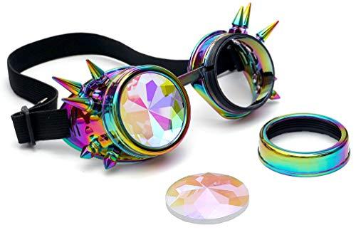 KOLCY Steampunk Brillen Coole Schutzbrillen Kaleidoskop Partybrillen Mischfarbe Violett Blau Gelb Grün Rund Schmuck Sonnenbrille Accessoire Retro Einstellbar mit Spitzen