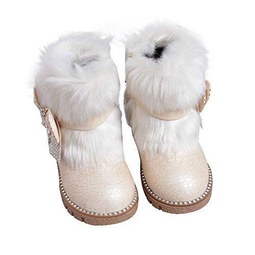 Baby Mädchen Schneestiefel Kleinkind Warm Halten Kaninchen Schneestiefel Weiche Sohlen Schuhe rutschen flache Stiefel Schwarz Rosa Weiß