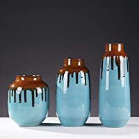 OKJK Decoración, Decoración para el hogar_Blue Jarrón de cerámica Decoración Moderna Sencilla Floración Europea Flor