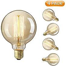 Edison Light Bulbs, Elfeland E27 Vintage Light Bulbs Globo 60W E27 Base de tornillo Filamento