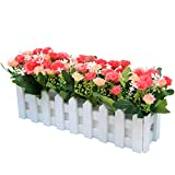 Flikool Kreativ Kunstliche Pflanze Artificial Potted Plant Topfpflanzen Blumen Carnations Nelken Faux Grunes Gras Falschung Bonsai Grun Simulation Baum Artificial Flower mit Zaun Handwerk Dekorationen Ornaments Indoor Outdoor Wedding Balcony Valentinstag Deco (Pink)