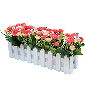 Flikool Claveles Flores Artificiales con Valla Faux Carnations Plantas Artificiales con Cerca Macetas Simulacion Falso Potted Bonsai Flor Artificial 30 * 7.5 * 15 cm (Pink)