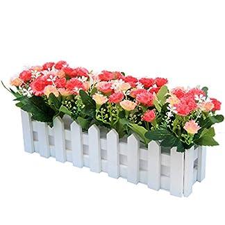 Flikool Claveles Flores Artificiales con Valla Faux Carnations Plantas Artificiales con Cerca Macetas Simulacion Falso Potted Bonsai Flor Artificial 30 * 7.5 * 15 cm
