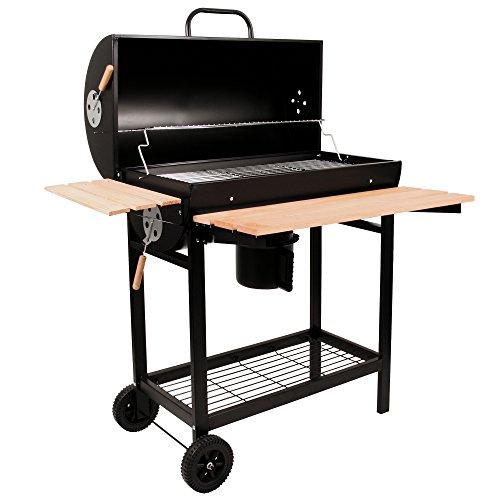 BBQ-TORO Holzkohle Grillwagen   Premium Holzkohlegrillwagen, Smoker, Barbecue Grill mit Deckel, Warmhalterrost, abklappbarer Ablage und vielem mehr