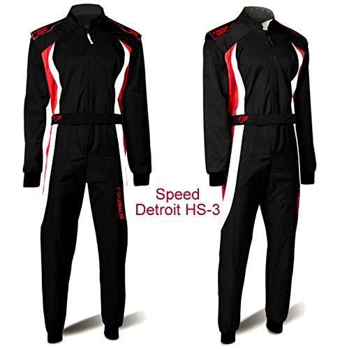 Speed Kart Overall 3-farbig - Kartoverall Detroit HS-3 schwarz weiß rot (M)
