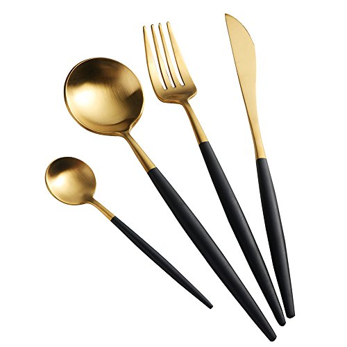 Buyer Star Flatware Cutlery Set Gold 4Pcs Stainless Steel Utensils Set Luxury Dinnerware Golden Knife Fork with Black Handle Tableware Set