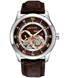 Bulova Automatic Men's Watch with Brown Dial Analogue Display and Brown Leather Strap 96A120