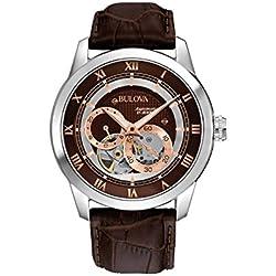 Bulova Automatic 96A120 - Reloj automático de diseño para hombre - Correa de cuero - Color oro rosa y marrón