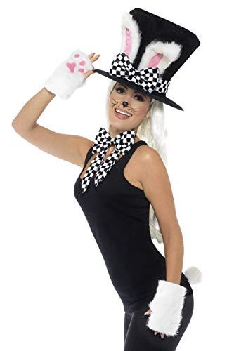 Smiffys Damen Teeparty Hasen Set, Zylinder mit Hasenohren, Handschuhe, Schlips und Schwanz, One Size, - Schwarze Hasenohren Kostüm