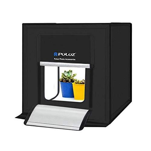 PULUZ Studio Photo Boîte de Lumière Pliable 60 x 60 x 60 cm LED 5500K Mini Photo Tente de Studio Portable avec 3 Fonds Blanc Noir Orange 60W Prise EU