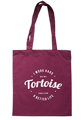 breadandbutterthreads i lavori rigida So My Tartaruga Can Live un better vita borsa 37,5cm x 42cm con manici lunghi Maroon