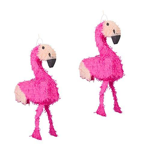 Relaxdays 2er Set Pinata Flamingo, zum Aufhängen, Kinder, Mädchen, Geburtstag, zum Befüllen, HxBxT: 80 x 40 x 14 cm, rosa-pink