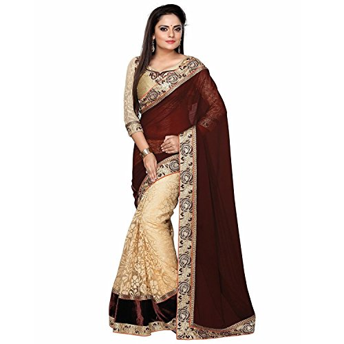 crystal creation Women's Velvet & Net Saree (CC-555_Maroon)  available at amazon for Rs.470