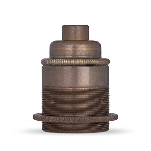 Vintage Lampenfassung aus Messing E27 | Das Original aus Europa | Einbaufassung M10 Gewinde | Finish: Gewindemantel (1 Schraubring), Old English