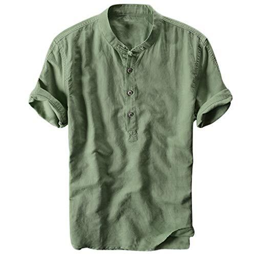 Celucke Oversize Leinenhemd Herren Kurzarm Grandad Ausschnitt, Männer Freizeithemd Henley Shirt Sommer Casual Hemden Leichte Atmungsaktives Bequem Leinen Sommerhemden (Grün, M) -