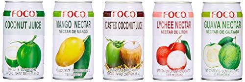 Foco Nektar Mischkarton (zum Probieren, 12 x Dosen, 5 x Geschmacksrichtungen Mango, Lychee, Guave, Kokosnuss, geröstete Kokosnuss, fruchtig, süß) (12 x 350ml) (Mango-saft)
