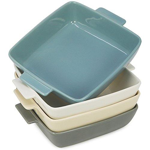 COM-FOUR® 4x Auflaufform aus Porzellan, Auflaufform und Pastetenförmchen für z.B. Creme Brulee, in verschiedenen Farben, je 600 ml (04 Stück - 600 ml)
