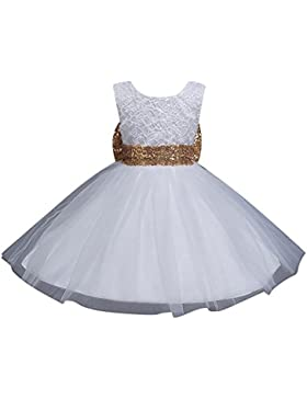 Vestido de Princesa Elegante Sin Mangas para Niñas Bebés Pajarita Infantil de Bautizo Fiesta Boda Ceremonia 170CM...