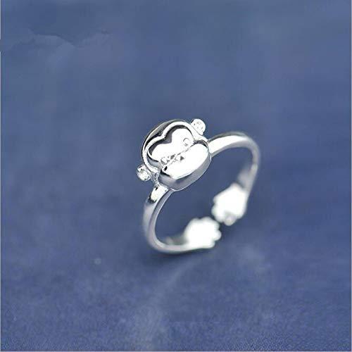 WULIAOZHIJI Ringe,Schönes Tier Koreanischer Mode Schmuck 925 Sterling Silber Kleiner AFFE Element Öffnen Ring -