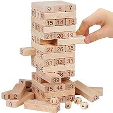 Babytintin 51 Pcs Blocks 4 Dices Wooden Tumbling Stacking Jenga Building Tower Game