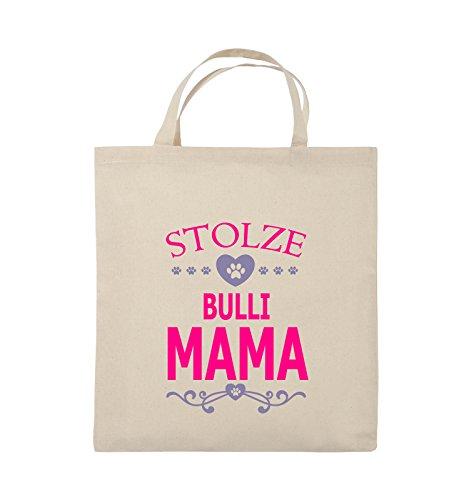 Comedy Bags - Stolze Bulli Mama - HERZ - Jutebeutel - kurze Henkel - 38x42cm - Farbe: Schwarz / Weiss-Neongrün Natural / Pink-Violet