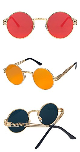 Herren Damen Runde quadratische Vintage verspiegelte Sonnenbrille Brillen Outdoor Sport Brille Gr. Einheitsgröße, a