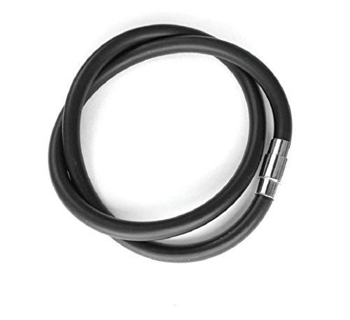 Kautschukhalsband 4mm, Halskette,Kautschukcollier, Kautschukband mit rostfreiem Bajonet-Magnetverschluss aus Edelstahl, KHB 104, Längen von ca. 38cm bis 78cm, von ESM24 (43)