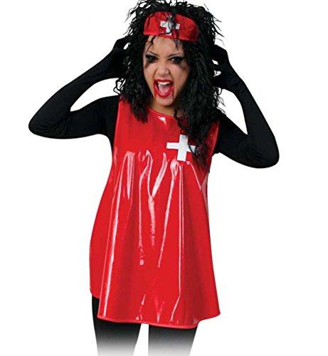 Kostüm Lackschürze Rot Krankenschwester Horror Psychiatrie Einhgeitsgröße
