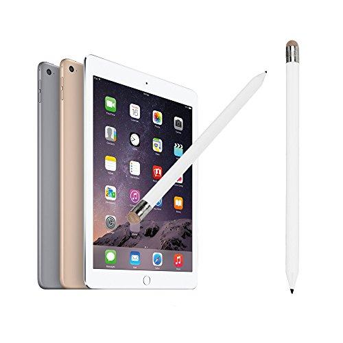 Janly 2In1 Bleistiftartiger, universeller, kapazitiver Stylus-Stift für iPhone Tablet ICA 2-in-1-Touchscreen-Stift (Weiß)