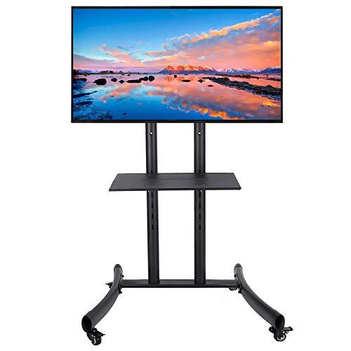 CO-Z Mobiler TV Standfuß TV Ständer Stand TV Standfuss mit Rollen für LCD, LED, Plasma Fernseher Bildschirme 32'' bis 65'' (81cm bis 165cm) höhenverstellbar mit Halterung und abschließbaren Rädern -